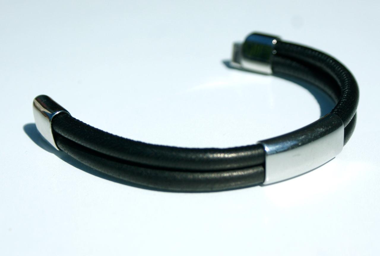Kleinesbild - Männer Armband Nappa 2-fach schwarz Edelstahl leger schlicht