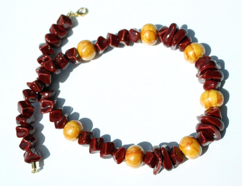 Kleinesbild - extravagantes Collier FEUER und FLAMME Keramik rot orange Lederband Unikat