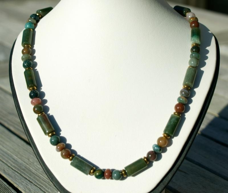 Kleinesbild - Männer Halskette INDIAN ACHAT mehrfarbig, Edelstahl Steinschmuck grün braun