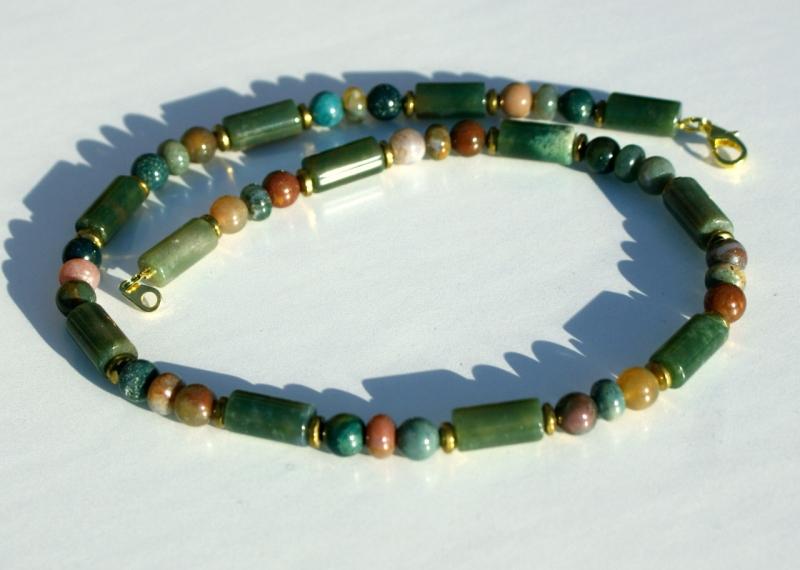 - Männer Halskette INDIAN ACHAT mehrfarbig, Edelstahl Steinschmuck grün braun - Männer Halskette INDIAN ACHAT mehrfarbig, Edelstahl Steinschmuck grün braun