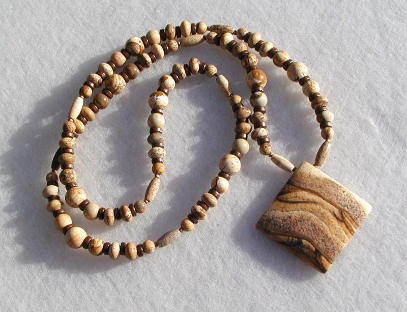 Kleinesbild - Kette mit Anhänger - Landschafts Jaspis Quadrat Halskette lang Steinschmuck Unikat