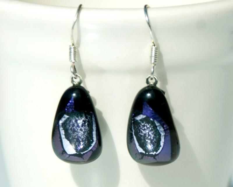 Kleinesbild - Ohrhänger GROTTE BLAU dichroitisches Glas 925er Silber Unikat ausgefallen extravagant glitzern