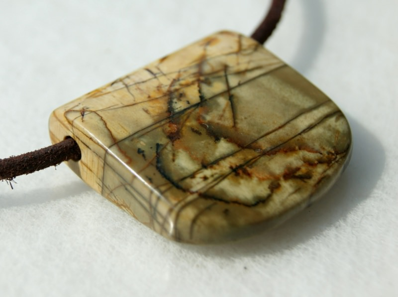 Kleinesbild - Anhänger UFER Picasso-Jaspis Lederband Unikat Steinschmuck schlicht