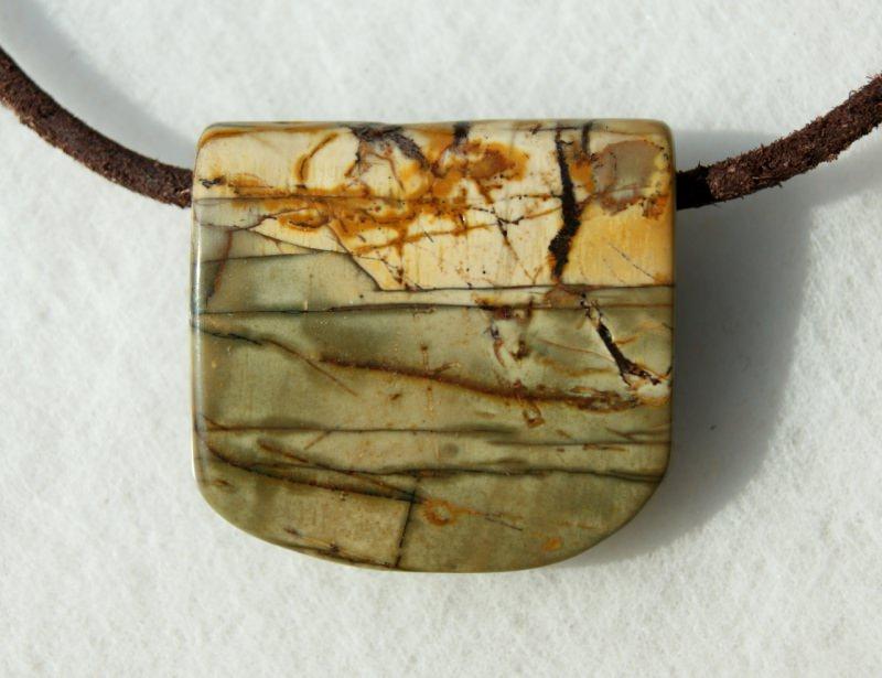 - Anhänger UFER Picasso-Jaspis Lederband Unikat Steinschmuck schlicht  - Anhänger UFER Picasso-Jaspis Lederband Unikat Steinschmuck schlicht