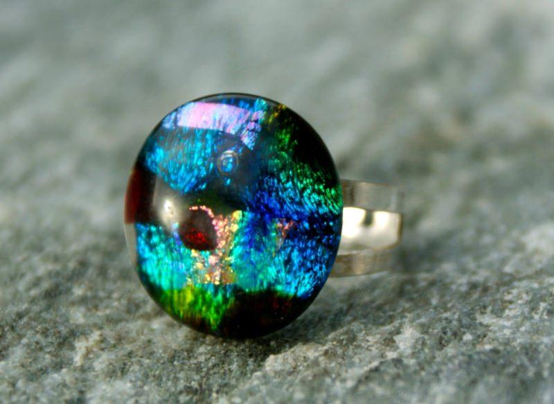 Kleinesbild - Ring MOSAIK dichroitisches Glas 925er Silber bunt Unikat extravagant