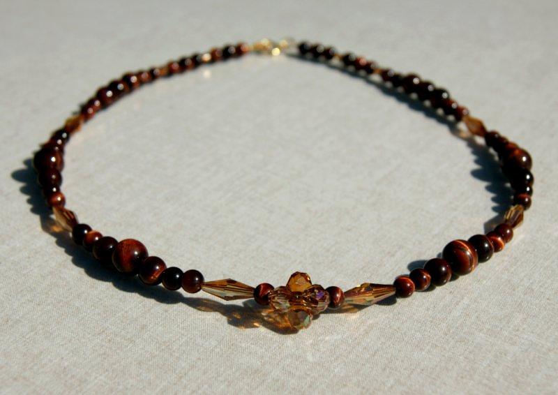 Kleinesbild - GLÄNZEND: Halskette mit rotem Tigerauge Swarovski elements kupfer 925er Silber vergoldet elegant festlich edel ausgefallen Design Unikat