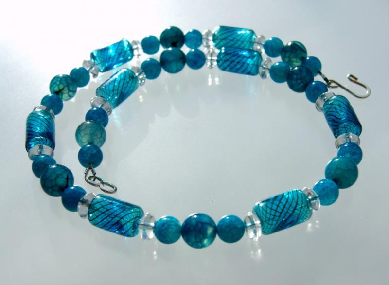 Kleinesbild - Halskette KORFU Achat Bergkristall mundgeblasenes Glas blau blaugrün Edelsteinschmuck verspielt elegant