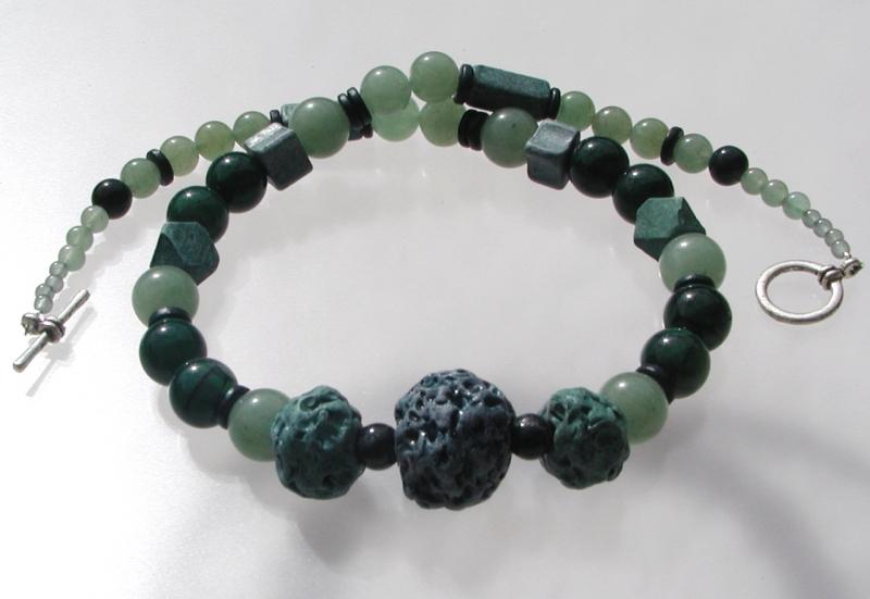 Kleinesbild - Collier GRÜNTÖNE Achat Aventurin Jade Keramik extravagant