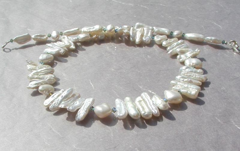 Kleinesbild - Collier TRAUM in Weiß  Biwa- Perlen 925er Silber elegant festlich edel