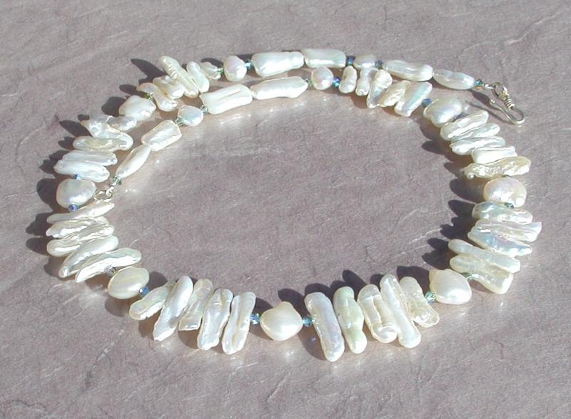 - Collier TRAUM in Weiß  Biwa- Perlen 925er Silber elegant festlich edel  - Collier TRAUM in Weiß  Biwa- Perlen 925er Silber elegant festlich edel