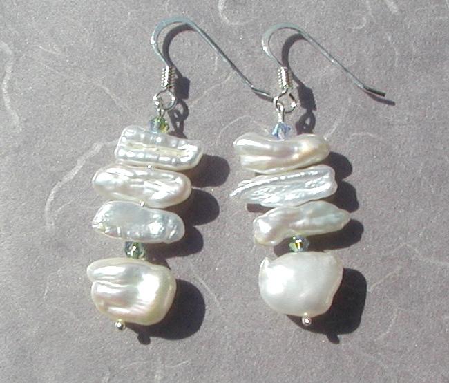 - Ohrhänger weiß Biwa- Perlen 925er Silber elegant festlich edel  - Ohrhänger weiß Biwa- Perlen 925er Silber elegant festlich edel