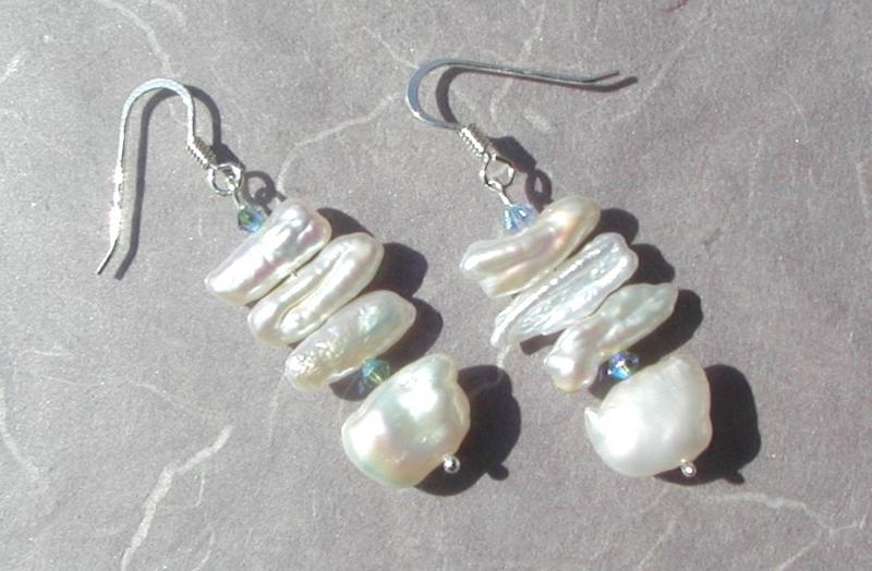 Kleinesbild - Ohrhänger weiß Biwa- Perlen 925er Silber elegant festlich edel