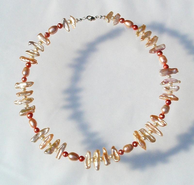 Kleinesbild - Collier LACHS ROSA  Biwa- Perlen 925er Silber elegant festlich edel