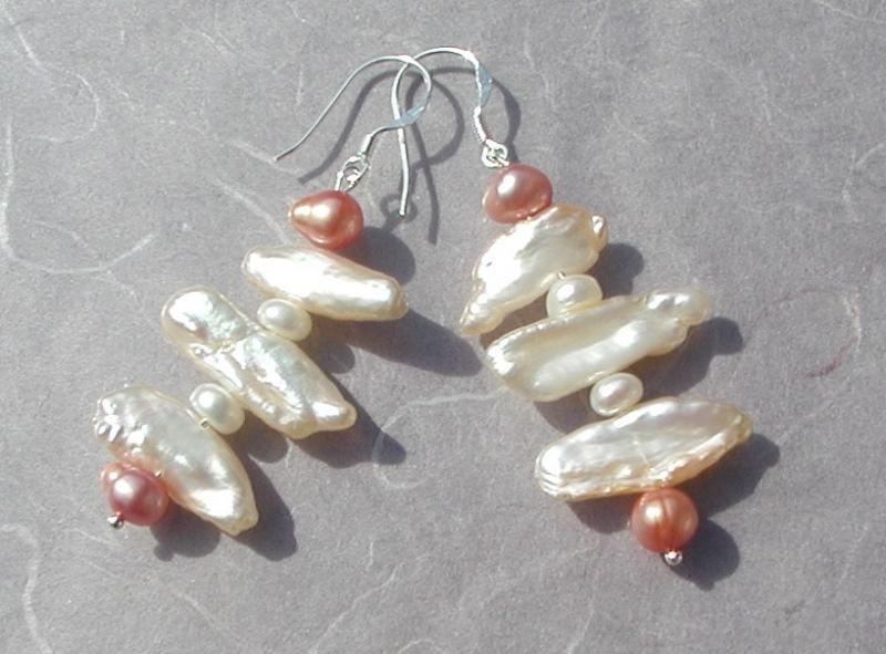 Kleinesbild - edle Ohrhänger * Biwa- und Zuchtperlen *  925er Silber elegant festlich edel
