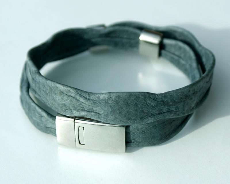 Kleinesbild - Wickelarmband für Männer WELLEN grau Nappaleder Edelstahl leger