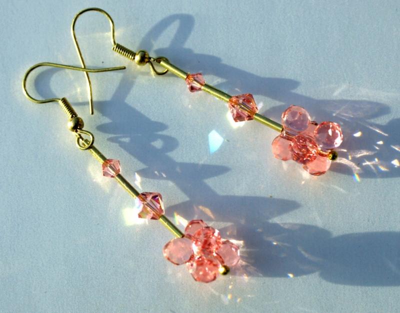 Kleinesbild - lange Ohrhänger ROSA-GOLD Swarovski-Steine romantisch