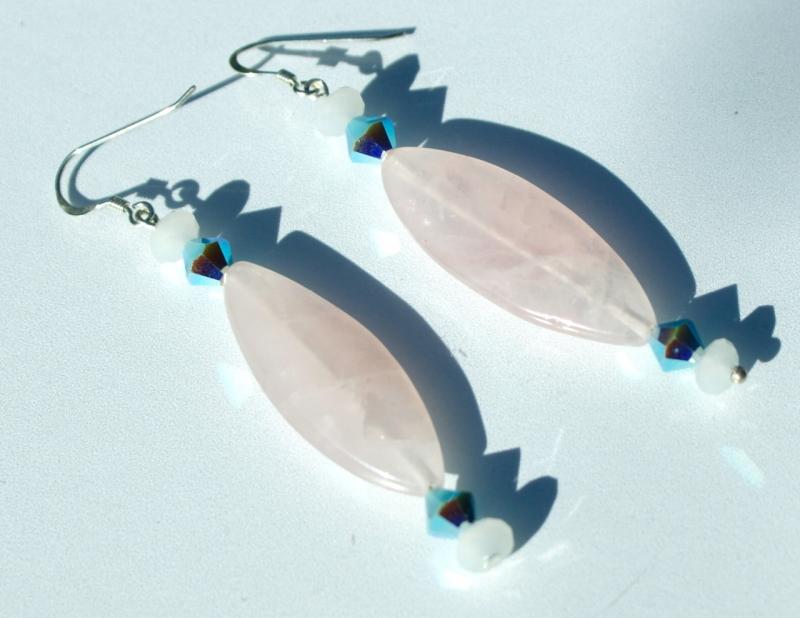 Kleinesbild - Ohrhänger ZAUBERZART Rosenquarz Jade 925er Silber elegant romantisch