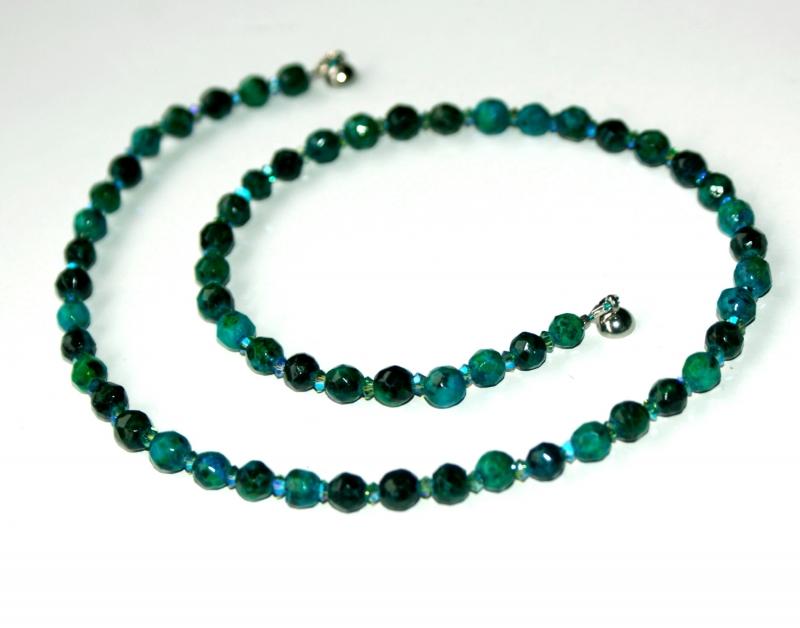 Kleinesbild - Halskette CHRYSOKOLL facettiert Swarovski-Perlen zierlich elegant