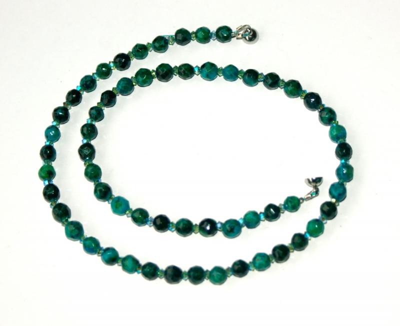 - Halskette CHRYSOKOLL facettiert Swarovski-Perlen zierlich elegant - Halskette CHRYSOKOLL facettiert Swarovski-Perlen zierlich elegant