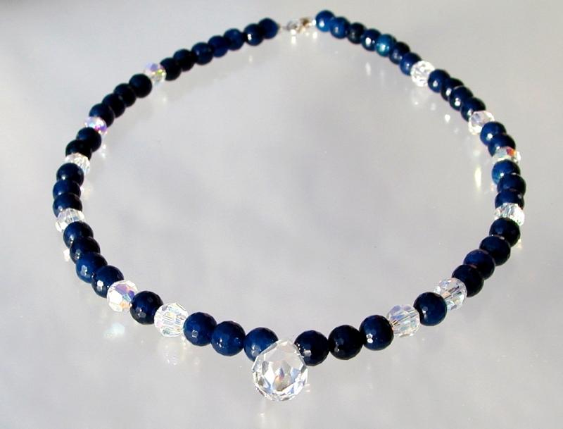 Kleinesbild - Halskette BLAU-GLITZER Achat dunkelblau Swarovskisteine elegant festlich