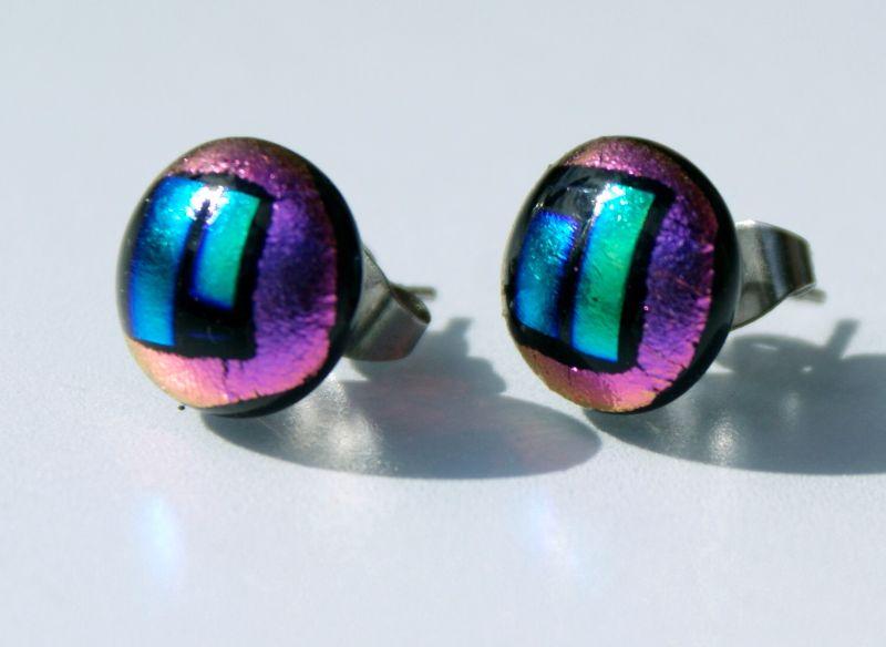 Kleinesbild - Stecker FENSTER PINK-GRÜN dichroitisches Glas Ohrstecker rund Dots Unikat Edelstahl