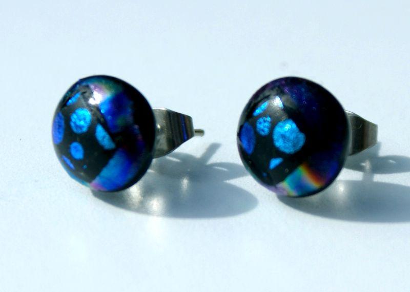 Kleinesbild - Stecker FENSTER BLAUE PUNKTE dichroitisches Glas Ohrstecker rund Dots Unikat Edelstahl