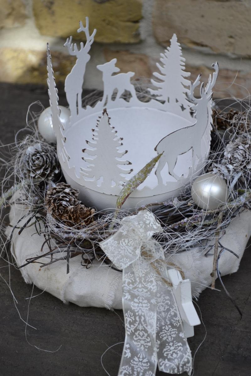 Kleinesbild -  Moneria-Adventskranz-weisse Weihnacht-