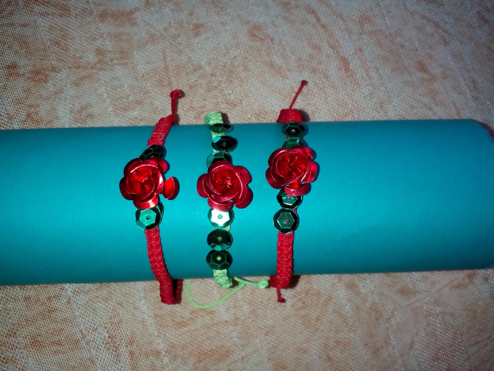 - Handgemachtes Armband - Satz mit Rose - Dekoration 3 - Handgemachtes Armband - Satz mit Rose - Dekoration 3