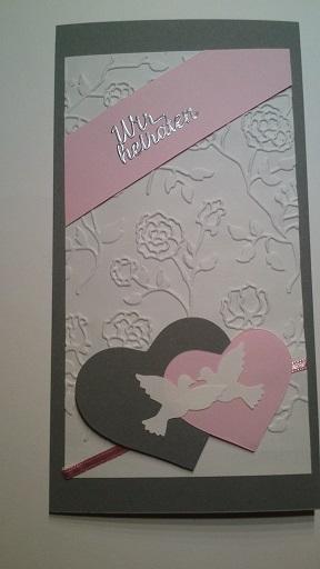 Anlasse Einladungskarte Zur Hochzeit In Grau Rosa Und Weiss Mit