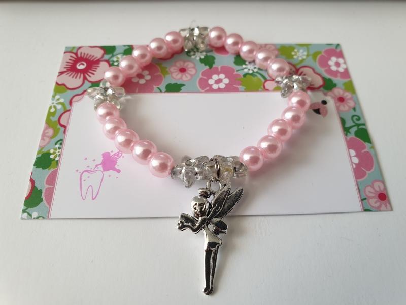 Kleinesbild - Geschenk von der Zahnfee Kinderarmband handgefertigt mit Fee Anhänger und Karte für Mädchen Geschenkset