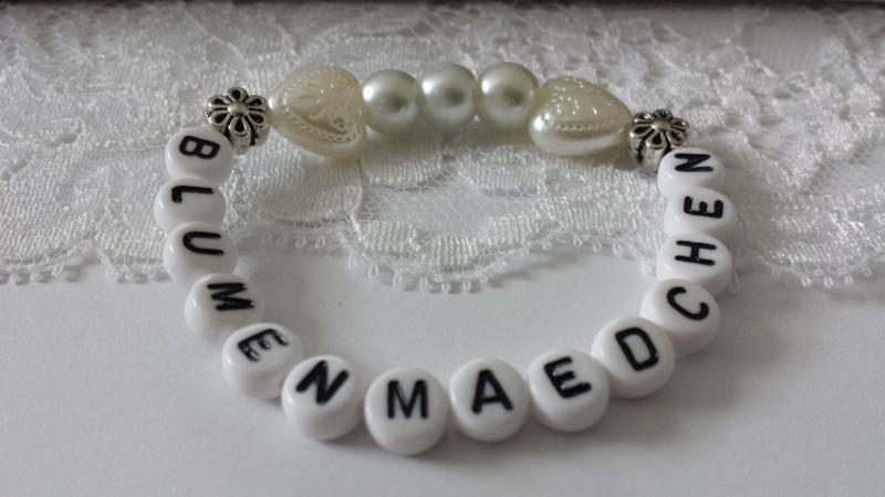 - Blumenmädchen Armband zur Hochzeit handgefertigt als Geschenk Mädchen zum Dankesagen Blumenstreuen Gastgeschenk - Blumenmädchen Armband zur Hochzeit handgefertigt als Geschenk Mädchen zum Dankesagen Blumenstreuen Gastgeschenk