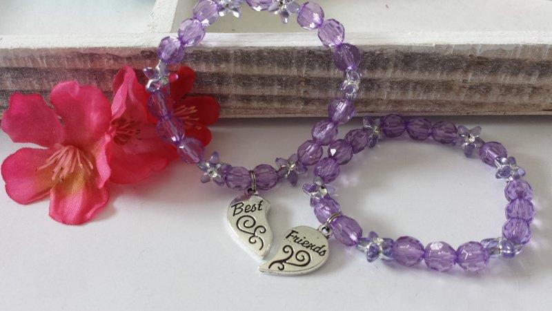 Kleinesbild - Freundinnen Armbänder Best Friends 2er Set elastische Perlenarmbänder mit tollen Anhängern als Zeichen der Zusammengehörigkeit Geschenk Mädchen