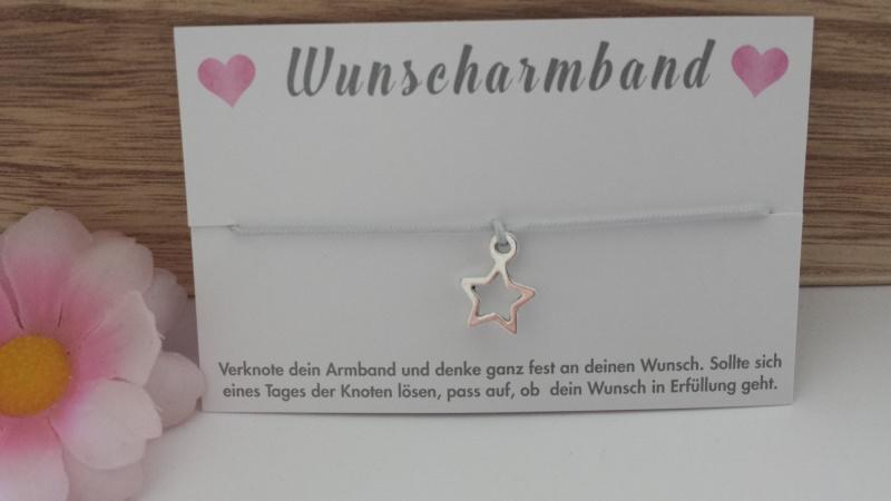 - Wunscharmband Stern handgefertigtes Bändchen Armband mit einem Sternanhänger für einen Herzenswunsch - Wunscharmband Stern handgefertigtes Bändchen Armband mit einem Sternanhänger für einen Herzenswunsch
