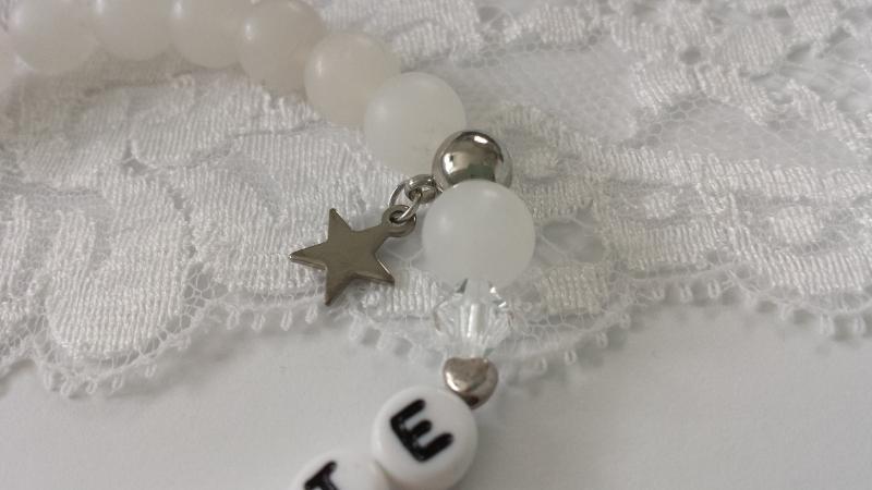 Kleinesbild - Patentante Armband Jade Erinnerungsgeschenk zur Taufe handgefertigt mit Sternanhänger Jadeperlen Geschenk Frauen Freundin Patin