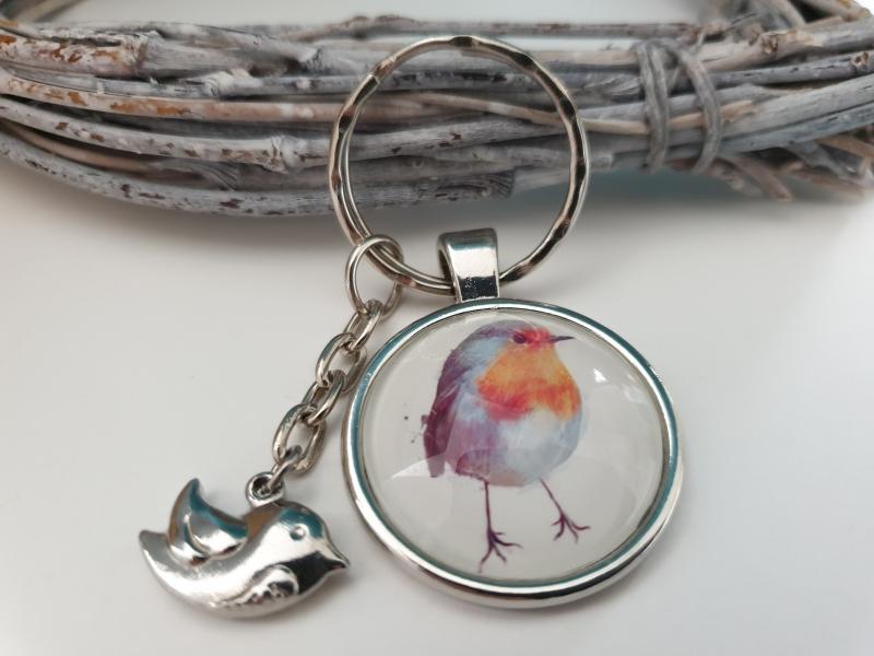 Kleinesbild - Rotkehlchen Schlüsselanhänger Glascabochon handgefertigt mit Vogelanhänger Accessoire Geschenk Frauen Freundin Männer