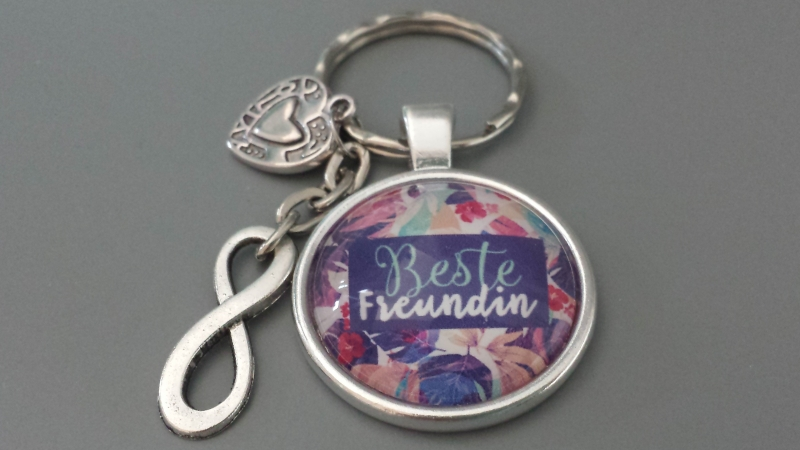 Kleinesbild - Beste Freundin Infinity Schlüsselanhänger Glascabochon Freundschaftsgeschenk Frauen Freundin Danke