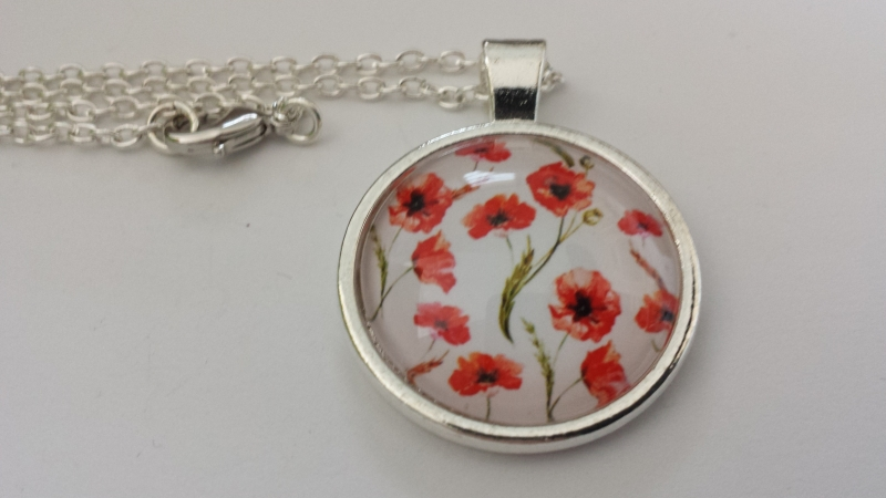 Kleinesbild - Mohnblumen Kette Glascabochon handgefertigt rote Blumen Geschenk Geburtstag Dankeschön Frauen Freundin