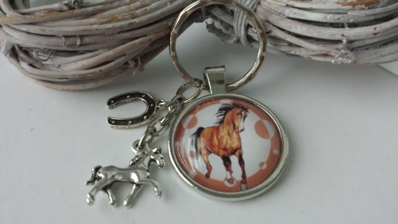 Kleinesbild - Toller Pferde Hufeisen Schlüsselanhänger Glascabochon handgefertigt Reitsport Pferdeliebe Glücksbringer Geschenk Frauen Kinder