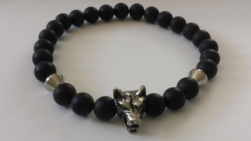 - Wolf Armband Onyx für Männer handgefertigt Wolfskopf Edelstahl Geschenk Mann Freund Ostern Jahrestag - Wolf Armband Onyx für Männer handgefertigt Wolfskopf Edelstahl Geschenk Mann Freund Ostern Jahrestag