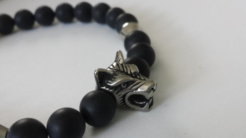 Kleinesbild - Wolf Armband Onyx für Männer handgefertigt Wolfskopf Edelstahl Geschenk Mann Freund Ostern Jahrestag