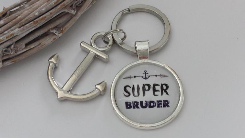 Kleinesbild - Bruder Schlüsselanhänger Glascabochon mit Anker handgefertigt Geschenk Super Bruder Danke Geburtstag Abschied