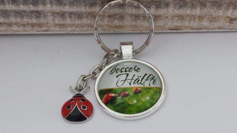 Kleinesbild - Glücksbringer Marienkäfer Schlüsselanhänger mit Worten Geschenk Bessere Hälfte Frauen Männer Jahrestag Danke Liebe