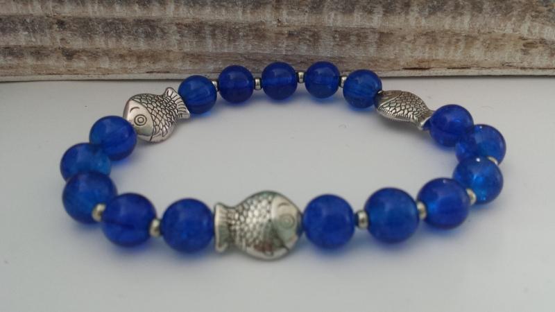 - Fisch Armband blau handgefertigt Geschenk Frauen Freundin Mädchen Religion Glaube - Fisch Armband blau handgefertigt Geschenk Frauen Freundin Mädchen Religion Glaube