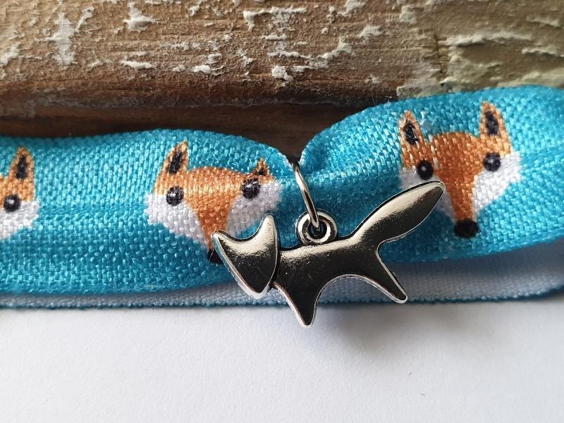 Kleinesbild - Fuchs Haargummi Hair Ties Armband handgefertigt mit Metallanhänger Fox Geschenk Frauen Freundin Danke mit Karte