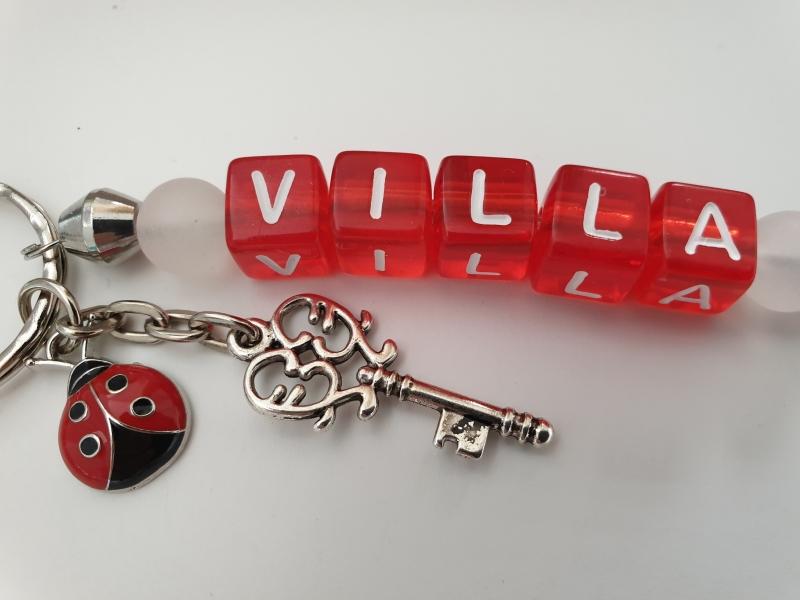 Kleinesbild - Glücksbringer Haus Villa Schlüsselanhänger handgefertigt Buchstabenperlen Schlüssel Geschenk Frauen Freundin Einzug Richtfest