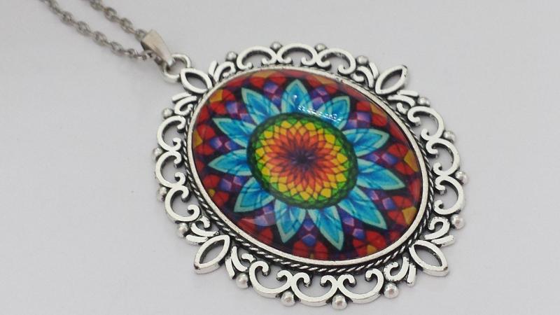 Kleinesbild - Mandala Glascabochon Kette handgefertigt Geschenk Frauen Freundin Yoga Erinnerung Achtsamkeit