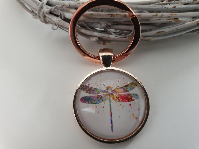 Kleinesbild - Libelle Schlüsselanhänger Glascabochonanhänger handgefertigt rosègoldfarben Geschenk Frauen Freundin Mama