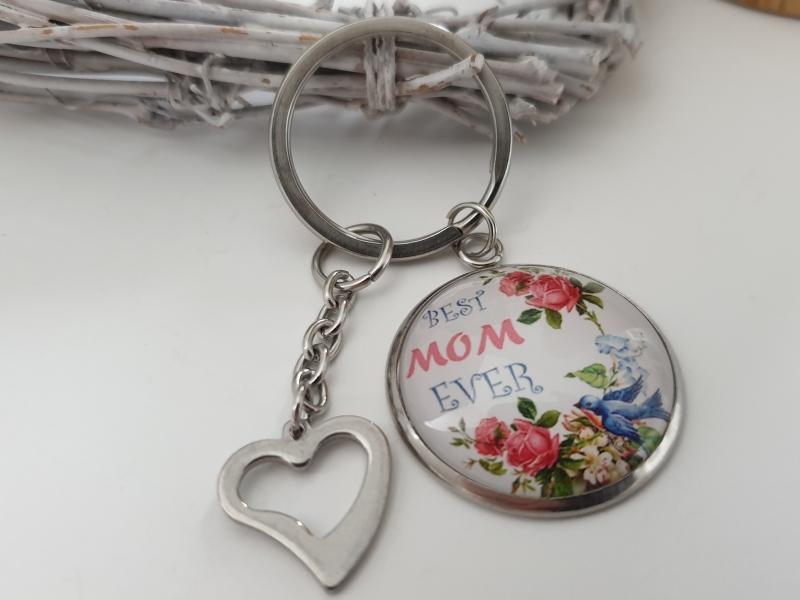 Kleinesbild -  Beste Mama Schlüsselanhänger handgefertigt Glascabochonanhänger mit Herz Geschenk Muttertag Mama Best Mom Ever Liebe