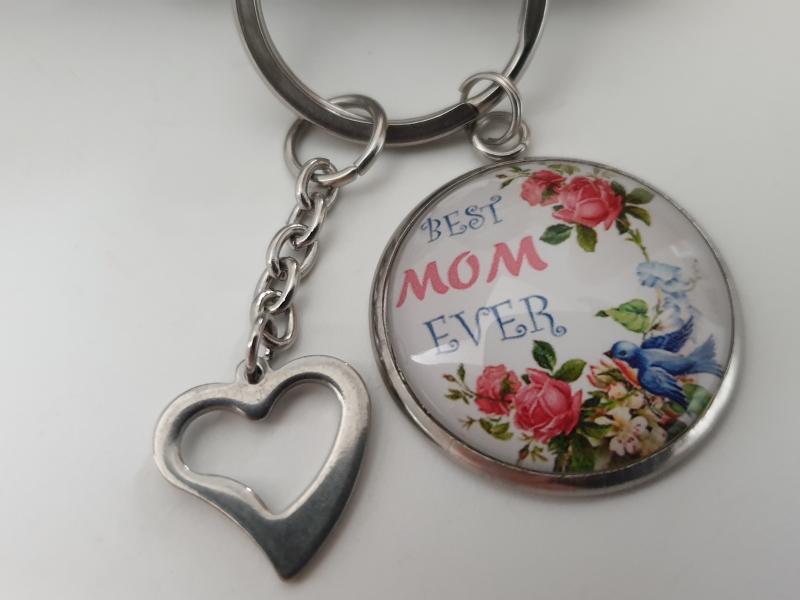 Kleinesbild -  Beste Mama Schlüsselanhänger handgefertigt Glascabochonanhänger mit Herz Geschenk Mama Mutter Best Mom Ever Liebe