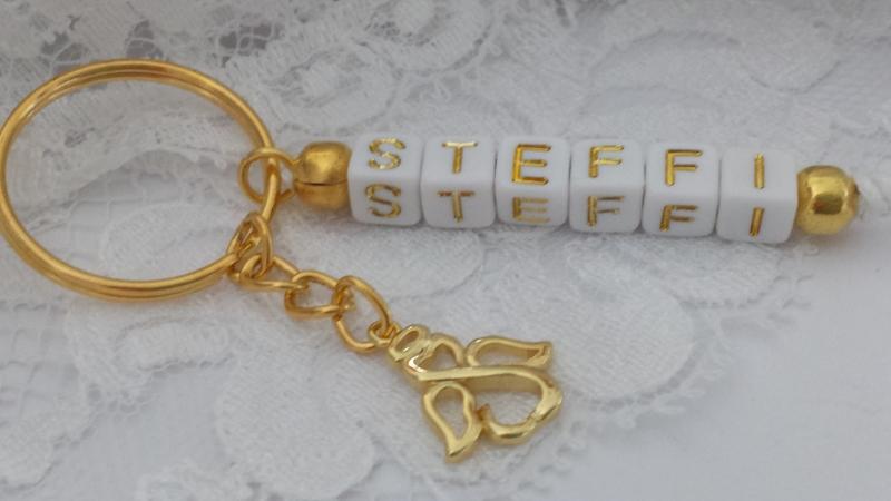 Kleinesbild - Personalisierbarer Schutzengel Schlüsselanhänger mit Namen handgefertigt Buchstabenperlen Geschenk Frauen Freundin Auto Prüfung Abschied
